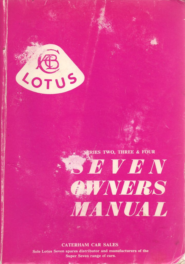 Lotus Seven owners manual
